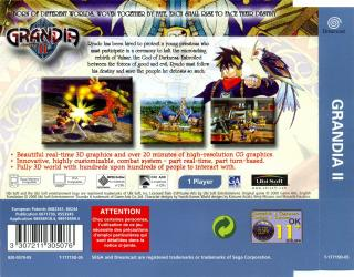 Grandia II (PAL) Back Cover - Click for full size image
