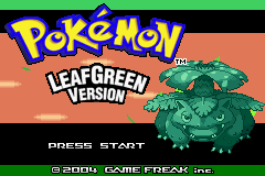 Pokemon Leaf Green (U)(Independent) Title Screen