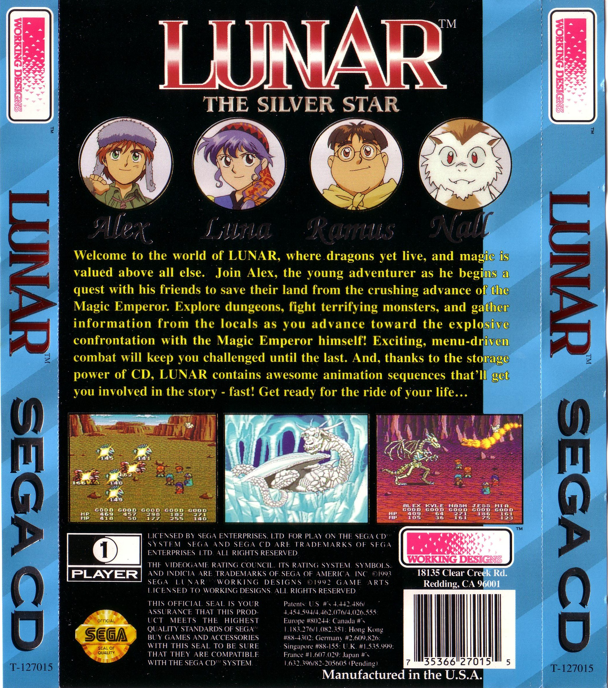 Lunar - The Silver Star (U) Back Cover
