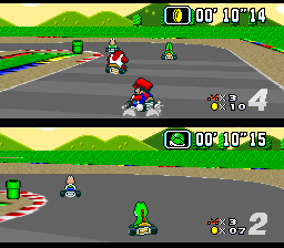 Super Mario Kart (USA) In game screenshot