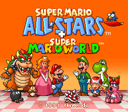Super Mario All-Stars + Super Mario World (USA) Title Screen
